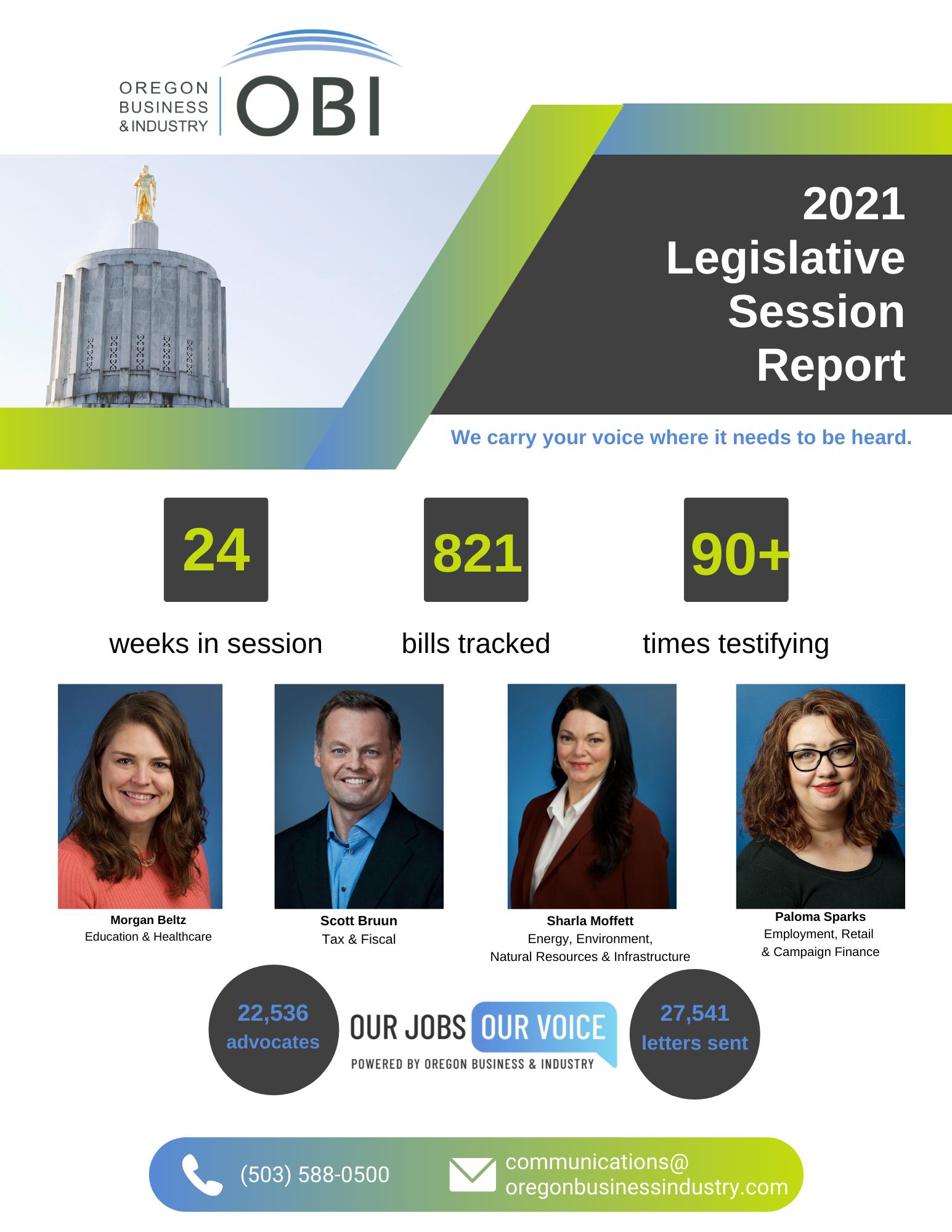 2021 Legislative Session Report Cover Page 4